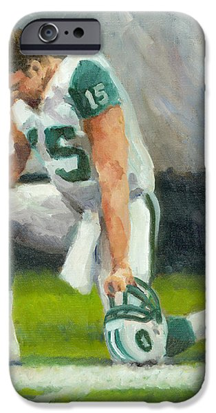 Tim Tebow Paintings iPhone Cases - Tebowing iPhone Case by Joe Maracic