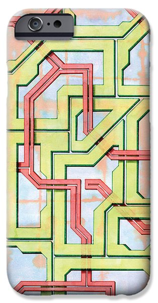 Circuit Drawings iPhone Cases - Tech Web iPhone Case by Kevin Trow