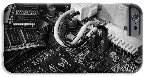 Circuit iPhone Cases - Technology - Motherboard in black and white iPhone Case by Paul Ward