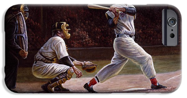 Hits iPhone Cases - Ted Williams At Bat iPhone Case by Gregory Perillo