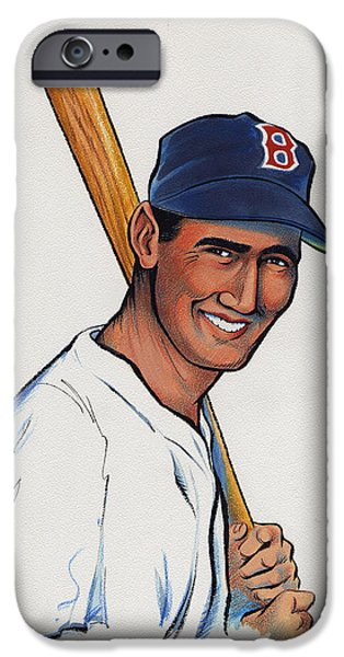 Red Sox Mixed Media iPhone Cases - Ted Williams iPhone Case by Ben De Soto