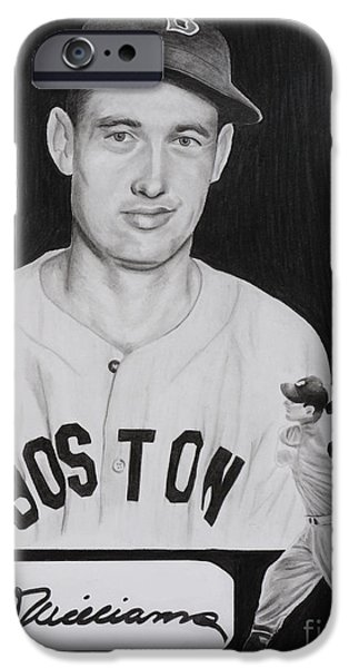 Red Sox Drawings iPhone Cases - Ted Williams iPhone Case by Billy Burdette
