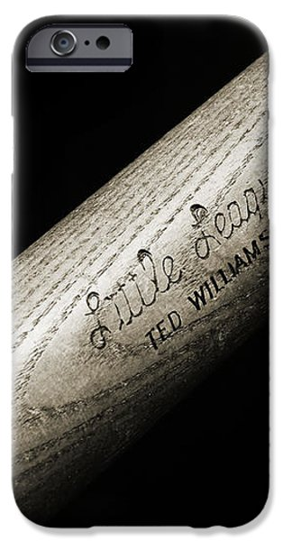 Ted Williams Little League Baseball Bat BW iPhone Case by Andee Design