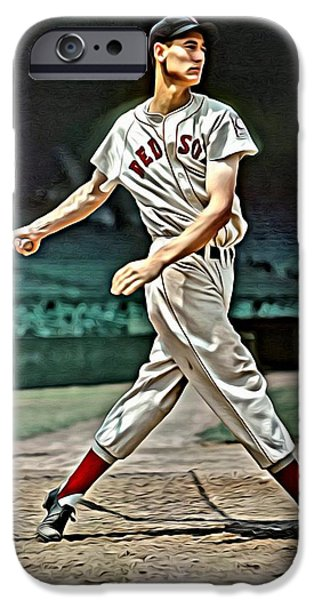 Boston Red Sox iPhone Cases - Ted Williams Painting iPhone Case by Florian Rodarte