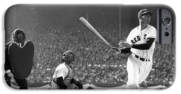 Williams Ted iPhone Cases - Ted Williams Slams One iPhone Case by Daniel Hagerman