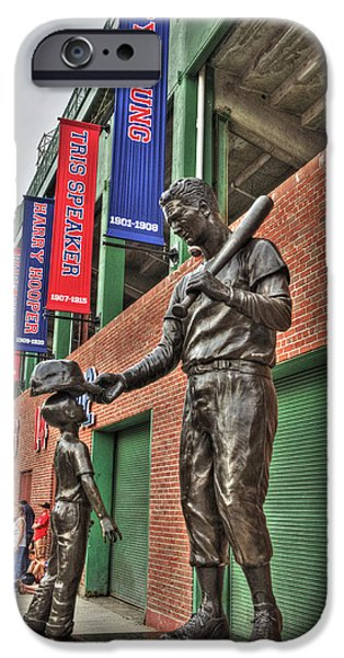 Williams Ted iPhone Cases - Ted Williams Statue at Fenway Park iPhone Case by Joann Vitali