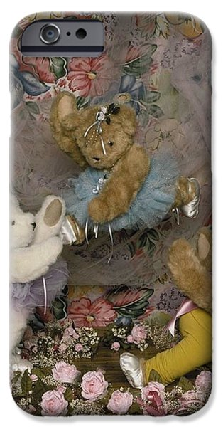 Dance Ballet Roses iPhone Cases - Teddy Bear Ballet iPhone Case by Mary J Tait