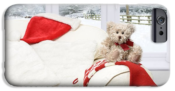 Interior Scene iPhone Cases - Teddy Bear On Sofa iPhone Case by Amanda And Christopher Elwell