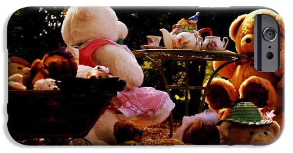 Tea Party iPhone Cases - Teddy Bear Tea Party iPhone Case by Michele Embry