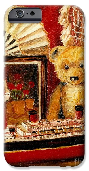 TEDDY BEAR WITH TUGBOAT DOLL AND FAN CHILDHOOD MEMORIES OLD TOYS AND COLLECTIBLES NOSTALGIC SCENES  iPhone Case by CAROLE SPANDAU