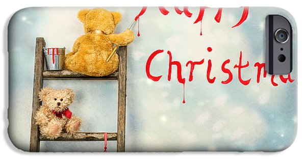 Snow Scene iPhone Cases - Teddy Bears At Christmas iPhone Case by Amanda And Christopher Elwell