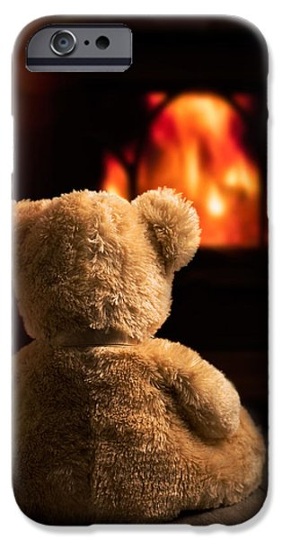 Indoor iPhone Cases - Teddy By The Fire iPhone Case by Amanda And Christopher Elwell