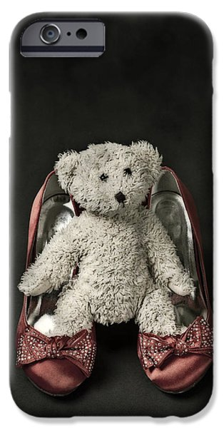Teddybear iPhone Cases - Teddy In Pumps iPhone Case by Joana Kruse