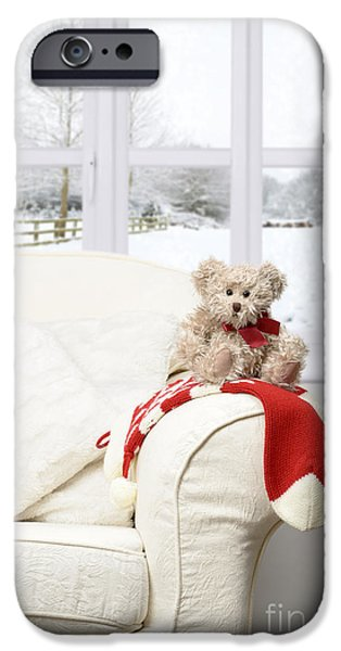 Interior Scene iPhone Cases - Teddy Sitting On Chair iPhone Case by Amanda And Christopher Elwell
