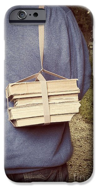 Straps iPhone Cases - Teen boys back with books iPhone Case by Edward Fielding