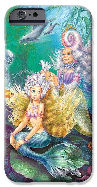 Little iPhone Cases - Teen Little Mermaid iPhone Case by Zorina Baldescu