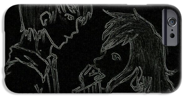 Inverted Drawings iPhone Cases - Teenage Love iPhone Case by Allwyn Dias