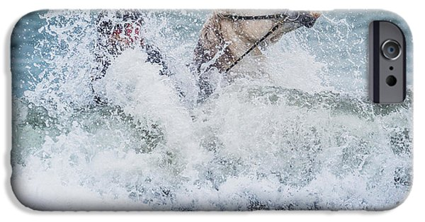Reining iPhone Cases - Teenager Horseback Riding In The Sea iPhone Case by Panoramic Images