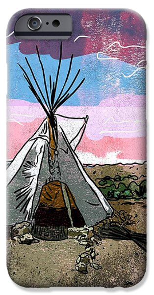 Grand Canyon Drawings iPhone Cases - Teepee iPhone Case by Mike Brennan