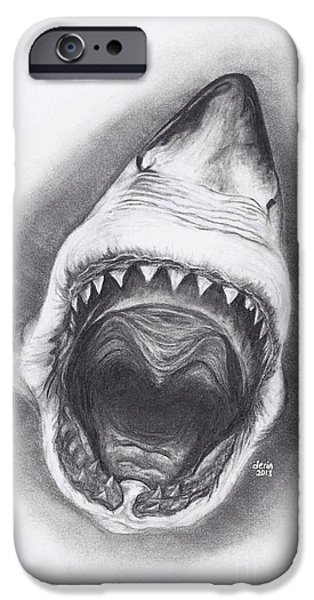 Shark Drawings iPhone Cases - Teeth iPhone Case by Derin Baysal