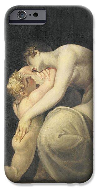 Greek Mythology iPhone Cases - Tekemessa And Eurysakes, C.1800-10 Oil On Canvas iPhone Case by Henry Fuseli