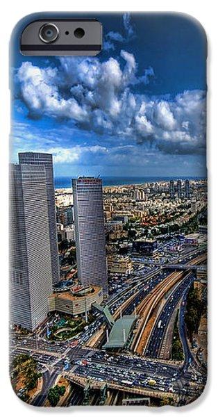 Tel Aviv center skyline iPhone Case by Ron Shoshani