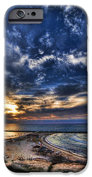 Tel Aviv sunset at Hilton beach iPhone Case by Ron Shoshani