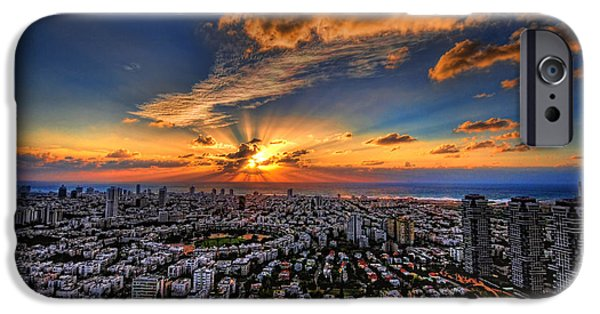 Spectacular iPhone Cases - Tel Aviv sunset time iPhone Case by Ron Shoshani