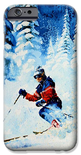 Skiing Action Paintings iPhone Cases - Telemark Trails iPhone Case by Hanne Lore Koehler