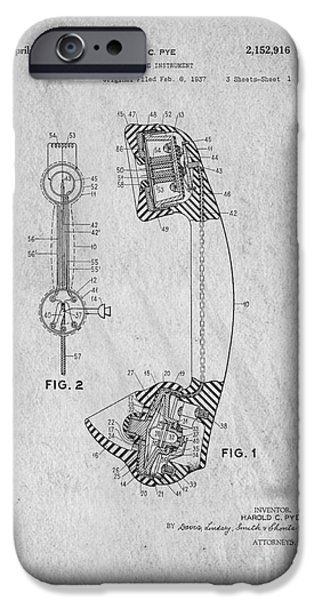 Business Drawings iPhone Cases - Telephone Patent Art iPhone Case by Edward Fielding