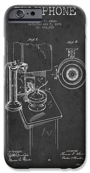 Telephone iPhone Cases - Telephone Patent Drawing From 1898 - Dark iPhone Case by Aged Pixel
