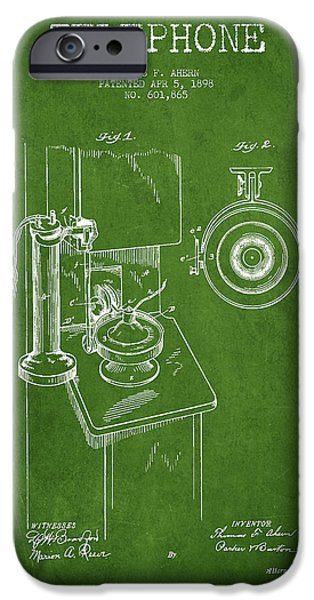 Calling iPhone Cases - Telephone Patent Drawing From 1898 - Green iPhone Case by Aged Pixel