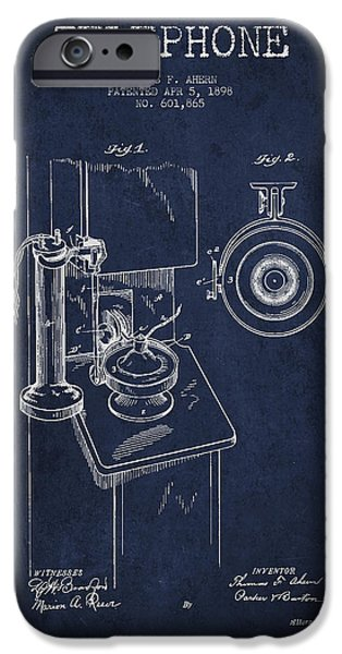 Telephone iPhone Cases - Telephone Patent Drawing From 1898 - Navy Blue iPhone Case by Aged Pixel