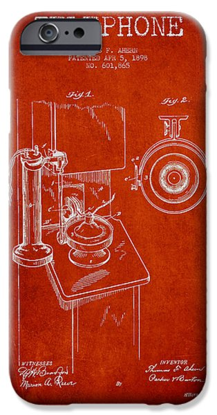 Telephone iPhone Cases - Telephone Patent Drawing From 1898 - Red iPhone Case by Aged Pixel