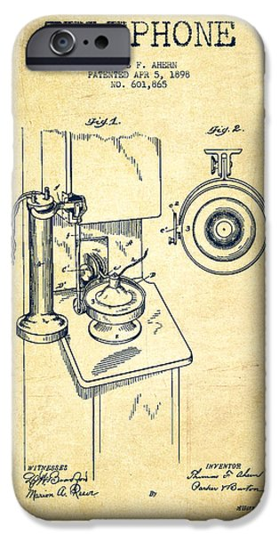 Telephone iPhone Cases - Telephone Patent Drawing From 1898 - Vintage iPhone Case by Aged Pixel