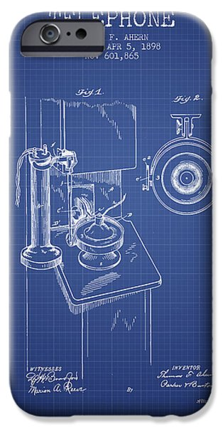 Calling iPhone Cases - Telephone Patent From 1898 - Blueprint iPhone Case by Aged Pixel