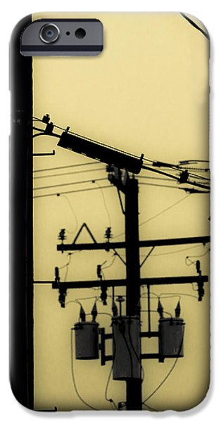 Duo Tone iPhone Cases - Telephone Pole and Sneakers 5 iPhone Case by Scott Campbell