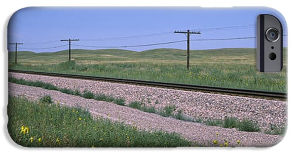 Nebraska iPhone Cases - Telephone Poles Along A Railroad Track iPhone Case by Panoramic Images