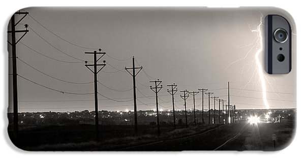 Lightning Images iPhone Cases - Telephone Poles Black and White Sepia iPhone Case by James BO  Insogna