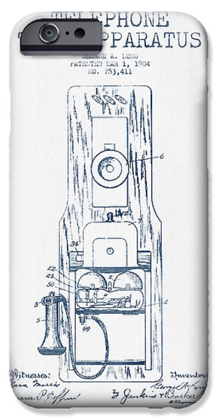 Telephone iPhone Cases - Telephone Toll Apparatus Patent Drawing From 1904 - Blue Ink iPhone Case by Aged Pixel
