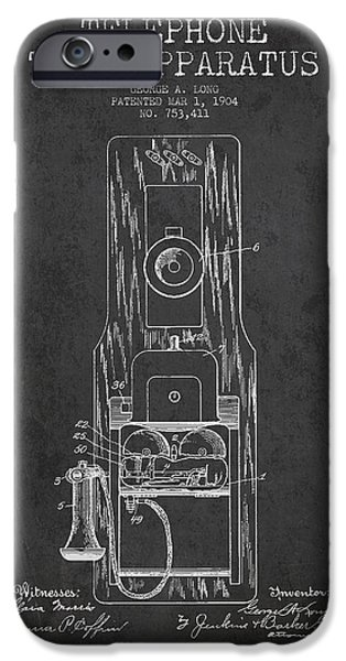 Calling iPhone Cases - Telephone Toll Apparatus Patent Drawing From 1904 - Dark iPhone Case by Aged Pixel