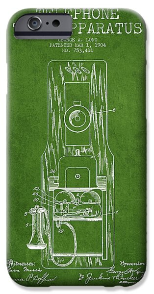 Calling iPhone Cases - Telephone Toll Apparatus Patent Drawing From 1904 - Green iPhone Case by Aged Pixel