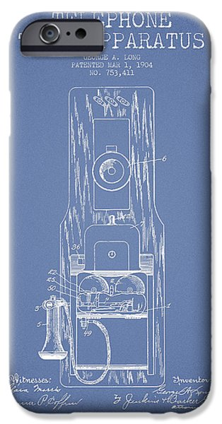Calling iPhone Cases - Telephone Toll Apparatus Patent Drawing From 1904 - Light Blue iPhone Case by Aged Pixel