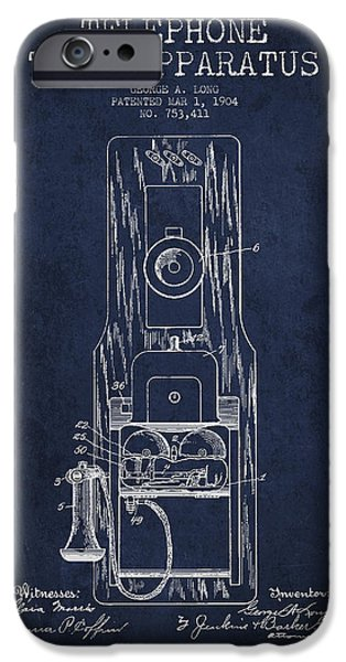 Calling iPhone Cases - Telephone Toll Apparatus Patent Drawing From 1904 - Navy Blue iPhone Case by Aged Pixel