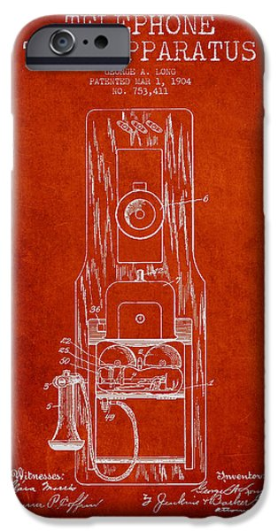 Calling iPhone Cases - Telephone Toll Apparatus Patent Drawing From 1904 - Red iPhone Case by Aged Pixel