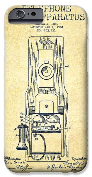 Calling iPhone Cases - Telephone Toll Apparatus Patent Drawing From 1904 - Vintage iPhone Case by Aged Pixel