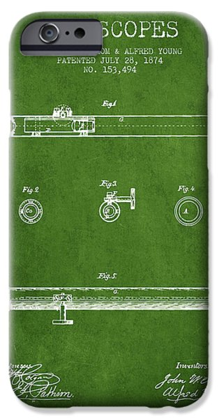 Telescope iPhone Cases - Telescope patent from 1874 - Green iPhone Case by Aged Pixel