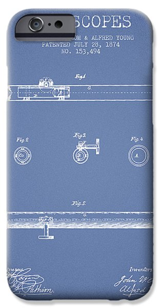Telescope iPhone Cases - Telescope patent from 1874 - Light Blue iPhone Case by Aged Pixel