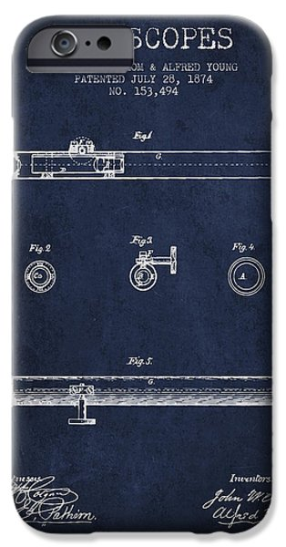 Telescope iPhone Cases - Telescope patent from 1874 - Navy Blue iPhone Case by Aged Pixel
