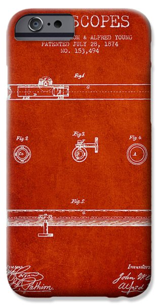 Telescope iPhone Cases - Telescope patent from 1874 - Red iPhone Case by Aged Pixel